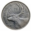 1948 Canadian 25-Cent Caribou Silver Quarter Coin Roll (Circulated)