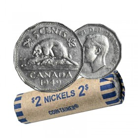 1949 Canadian 5-Cent Beaver Nickel Coin Roll (Circulated)