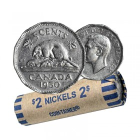 1950 Canadian 5-Cent Beaver Nickel Coin Roll (Circulated)