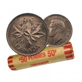 1951 Canadian 1-Cent Maple Leaf Twig Penny Coin Roll (Circulated)
