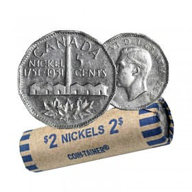 1951 (1751-) Canadian 5-Cent Nickel Isolation Bicentennial Commemorative Coin Roll (Circulated)