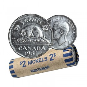 1951  Canada 5 Cents Roll (Circulated)