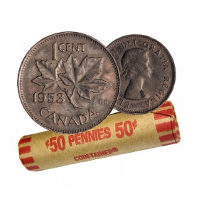 1953 Canadian 1-Cent Maple Leaf Twig Penny Coin Roll (Circulated)
