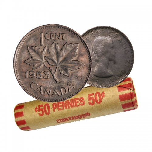 1953 SHOULDER FOLD (SF) Canadian 1-Cent Maple Leaf Twig Penny Coin Roll (Circulated)