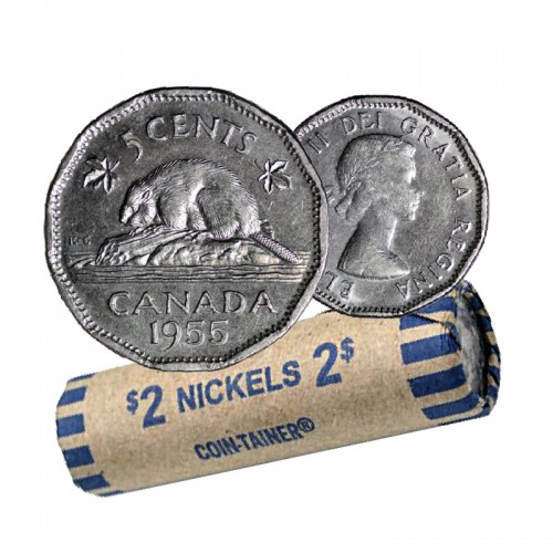 1955 Canadian 5-Cent Beaver Nickel Coin Roll (Circulated)