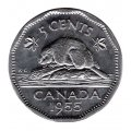 1955 Canadian 5-Cent Beaver Nickel Roll in Coin Tube (Brilliant Uncirculated)