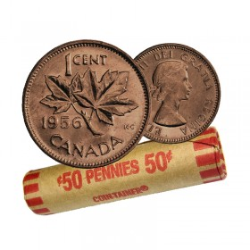 1956 Canadian 1-Cent Maple Leaf Twig Penny Coin Roll (Circulated)