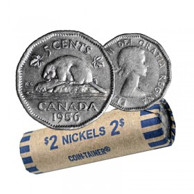 1956 Canadian 5-Cent Beaver Nickel Coin Roll (Circulated)