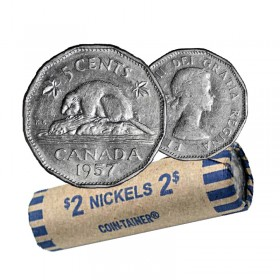 1957 Canadian 5-Cent Beaver Nickel Coin Roll (Circulated)