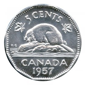 1957 Canadian 5-Cent Beaver Nickel Coin (Brilliant Uncirculated)