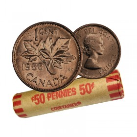 1958 Canadian 1-Cent Maple Leaf Twig Penny Coin Roll (Circulated)