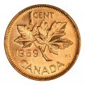 1959 Canadian 1-Cent Maple Leaf Twig Penny Roll in Coin Tube (Brilliant Uncirculated)