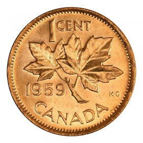 1959 Canadian 1-Cent Maple Leaf Twig Penny Coin (Brilliant Uncirculated)