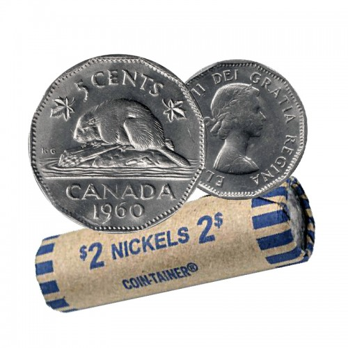 1960 Canadian 5-Cent Beaver Nickel Coin Roll (Circulated)