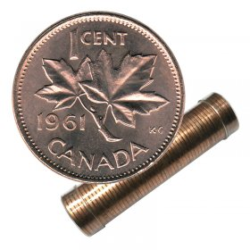 1961 Canadian 1-Cent Maple Leaf Twig Penny Roll in Coin Tube (Brilliant Uncirculated)