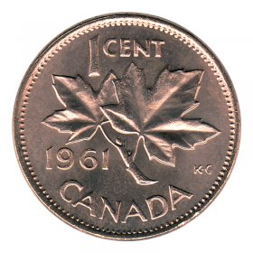 1961 Canadian 1-Cent Maple Leaf Twig Penny Coin (Brilliant Uncirculated)
