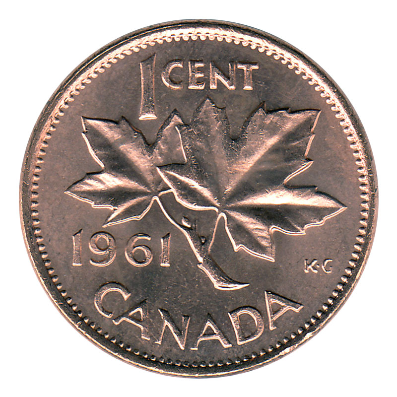 1961 Canadian 1 Cent Maple Leaf Twig Penny Roll In Coin Tube Brilliant Uncirculated