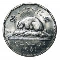 1961 Canadian 5-Cent Beaver Nickel Roll in Coin Tube (Brilliant Uncirculated)