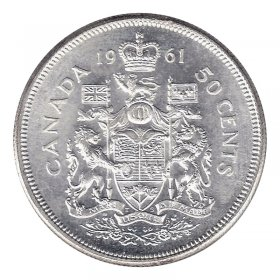 1961 Canadian 50-Cent Coat of Arms Silver Half Dollar Coin (Brilliant Uncirculated)