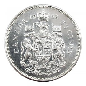 1962 Canadian 50-Cent Coat of Arms Silver Half Dollar Coin (Brilliant Uncirculated)