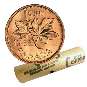 1963 Canadian 1-Cent Maple Leaf Twig Penny Original Coin Roll