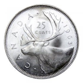 1963 Canadian 25-Cent Caribou Silver Quarter Coin (Brilliant Uncirculated)