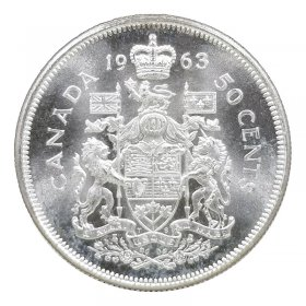 Stocking Stuffer Canada 1961 80/% Silver Half Dollar Great Condition Coin Great Gift Idea Royal Coat of Arms 50 Cents