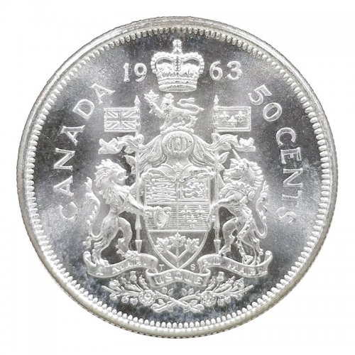 1963 Canadian 50-Cent Coat of Arms Silver Half Dollar Coin (Brilliant Uncirculated)