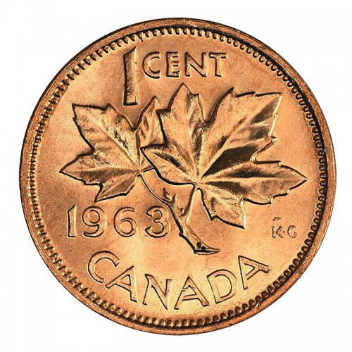 1963 Canadian 1-Cent Maple Leaf Twig Penny Coin (Brilliant Uncirculated)