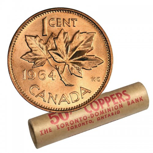 1964 Canadian 1-Cent Maple Leaf Twig Penny Original Coin Roll