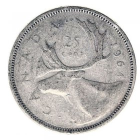 1964 Canadian 25-Cent Caribou Silver Quarter Coin (Circulated)