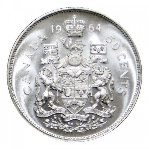 1964 Canadian 50-Cent Coat of Arms Silver Half Dollar Coin (Brilliant Uncirculated)