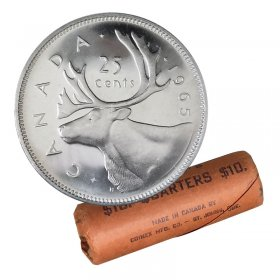 1965 Canadian 25-Cent Caribou Silver Quarter Original Coin Roll-in coin tube