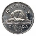 1965 Canadian 5-Cent Beaver Nickel Roll in Coin Tube (Brilliant Uncirculated)