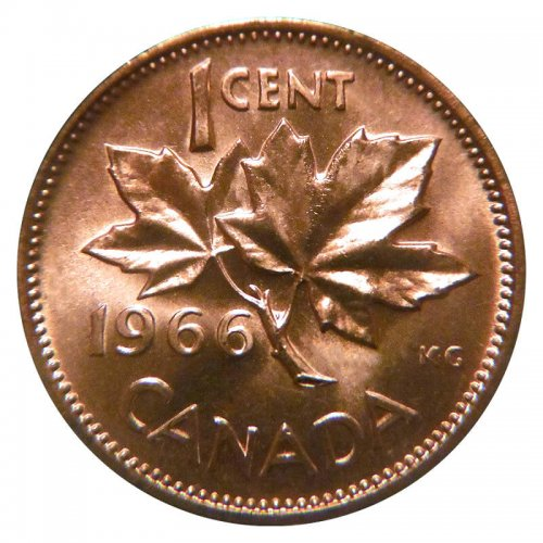1966 Canadian 1-Cent Maple Leaf Twig Penny Coin (Brilliant Uncirculated)