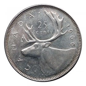 1966 Canadian 25-Cent Caribou Silver Quarter Coin (Circulated)