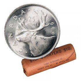 1966 Canadian 25-Cent Caribou Silver Quarter Original Coin Roll-in coin tube