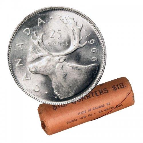 1966 Canadian 25-Cent Caribou Silver Quarter Original Coin Roll