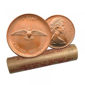 1967 (1867-) Canadian 1-Cent Rock Dove Confederation Centennial Penny Original Coin Roll
