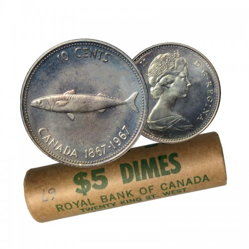 1967 (1867-) Canadian 10-Cent Mackerel (Fish) Confederation Centennial Silver Dime Original Coin Roll