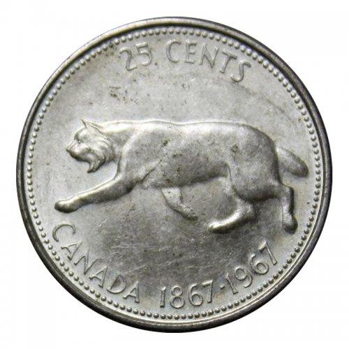 1967 (1867-) Canadian 25-Cent Bobcat Confederation Centennial Silver Quarter Coin (Circulated)