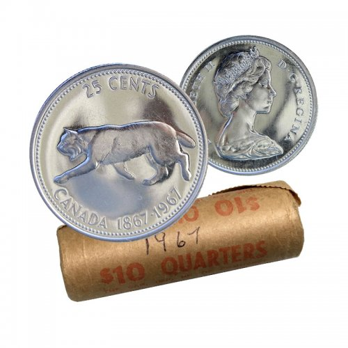 1967 (1867-) Canadian 25-Cent Bobcat Confederation Centennial Silver Quarter Original Coin Roll