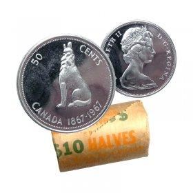 1967 (1867-) Canadian 50-Cent Howling Wolf Confederation Centennial Silver Half Dollar Original Coin Roll