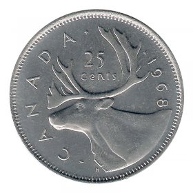 1968 Canadian 25-Cent Caribou Nickel Quarter Coin (Brilliant Uncirculated)