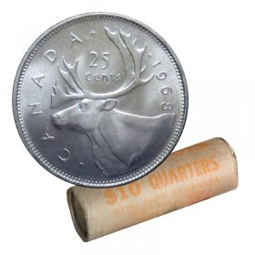 1968 Canadian 25-Cent Caribou Silver Quarter Original Coin Roll-in coin tube