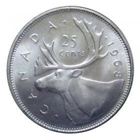1968 Canadian 25-Cent Caribou Silver Quarter Coin (Brilliant Uncirculated)