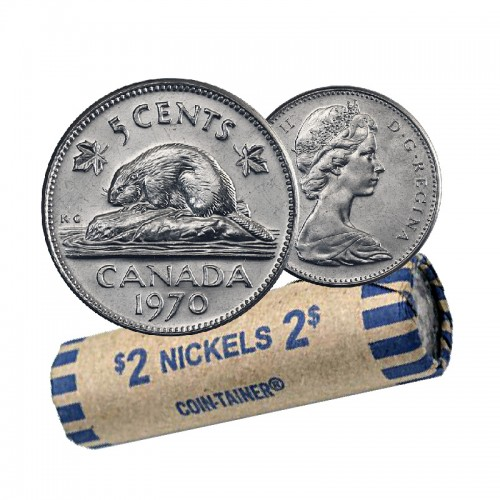 1970 Canadian 5-Cent Beaver Nickel Coin Roll (Circulated)