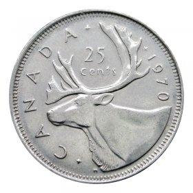 1970 Canadian 25-Cent Caribou Quarter Coin (Brilliant Uncirculated)