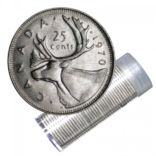 1970 Canadian 25-Cent Caribou Quarter Roll in Coin Tube (Circulated)