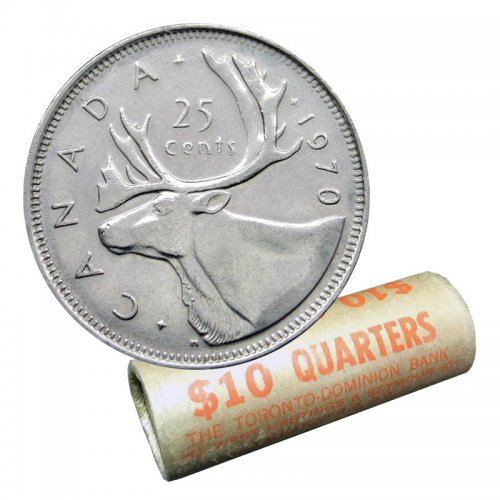 1970 Canadian 25-Cent Caribou Quarter Original Coin Roll